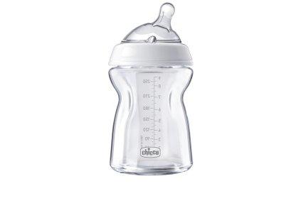 Chicco NaturalFeeling szklana butelka-250 ml smoczek silikonowy, przepływ wolny 0m+