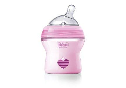 Chicco NaturalFeeling Pink-150 ml smoczek silikonowy, przepływ wolny 0+