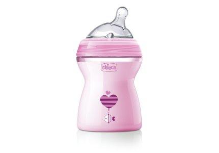 Chicco NaturalFeeling Pink-250 ml smoczek silikonowy, przepływ średni 2+