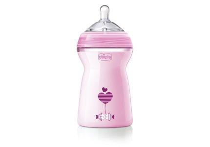 Chicco NaturalFeeling Pink-330 ml smoczek silikonowy, przepływ szybki 6+